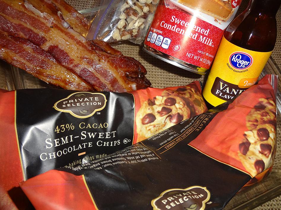 Beer-glazed bacon chocolate fudge ingredients