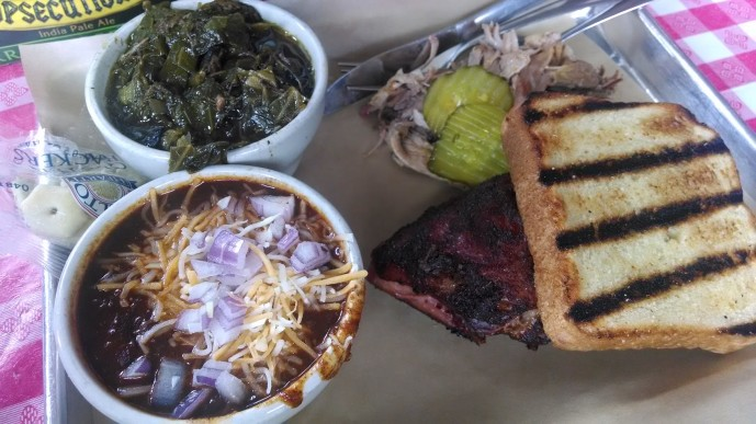 My pork and chicken plate with collards and chili
