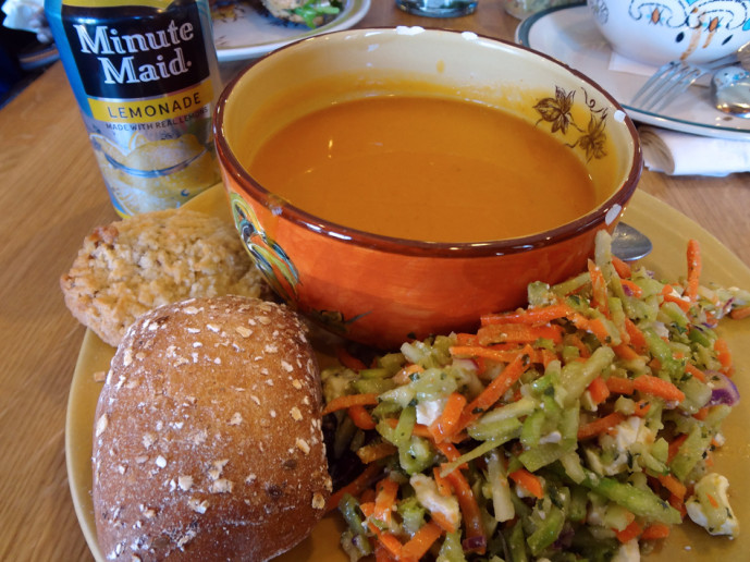 Souper Jenny butternut squash soup and broccoli slaw