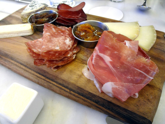 Meat and cheese board at Ecco