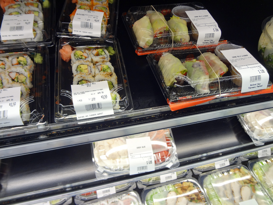 Packaged foods in the food court