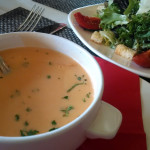 Chris' lobster bisque and side salad