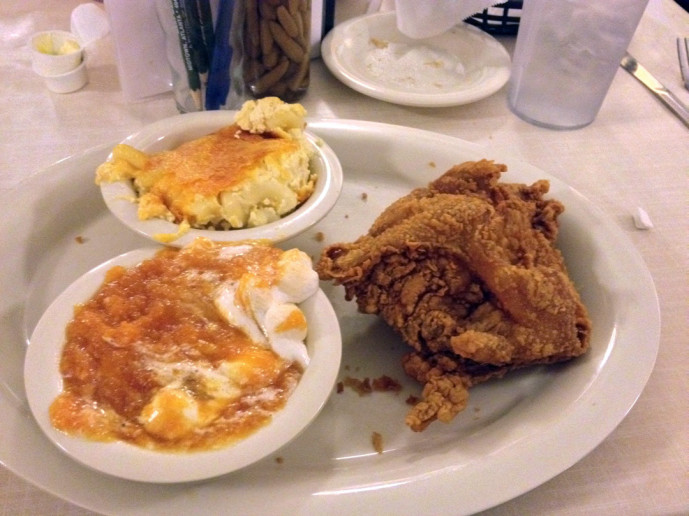 Mary mac's Tea Room one fried chicken breast and two sides