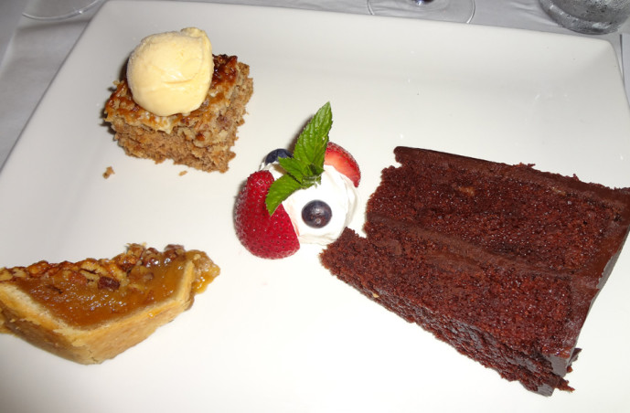 Dessert sampler: Pecan pie, oatmeal spice cake, and chocolate cake