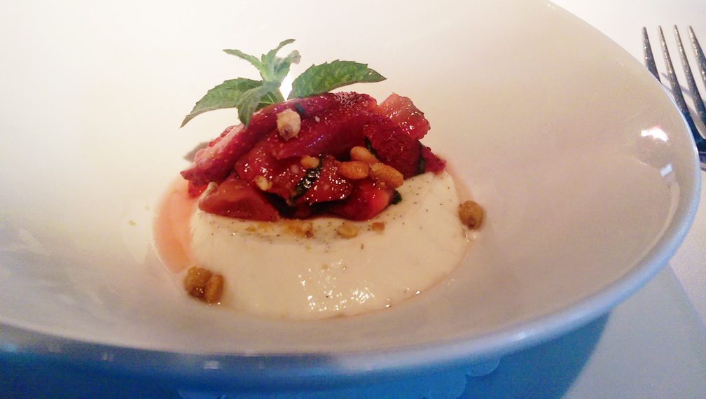 Panna Cotta with Local Georgia Strawberry Mint Salad