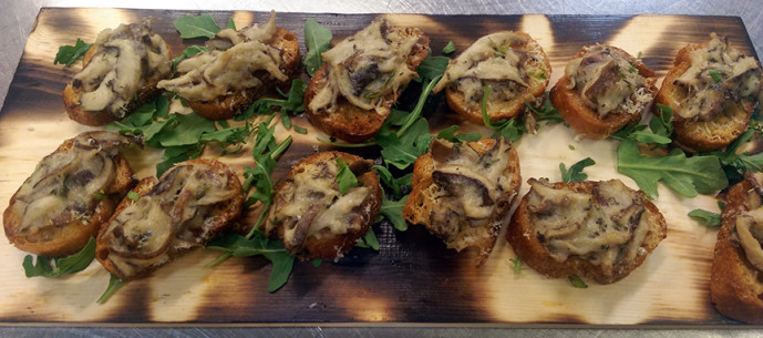 Mini Wild Mushrooms and Fontina Cheese Bruschetta