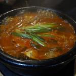 Boiling kimchi soup at Cho Sun Ok
