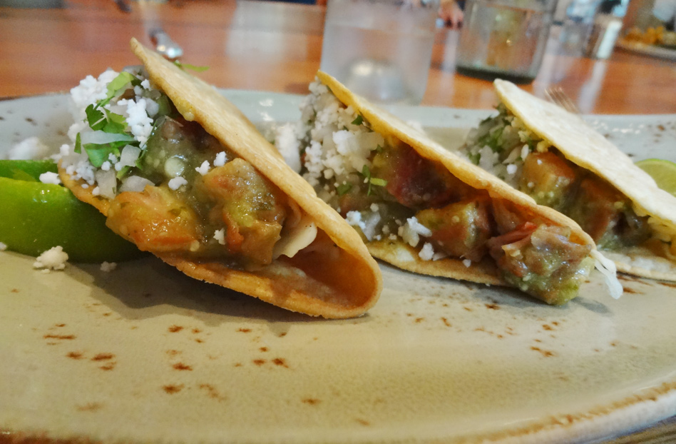 pork belly crispy tacos & guajillo salsa