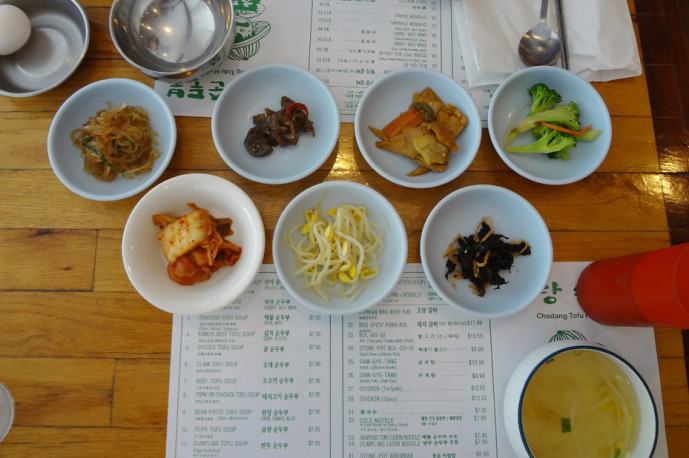Banchan and food accessories at Cho Dang Tofu House