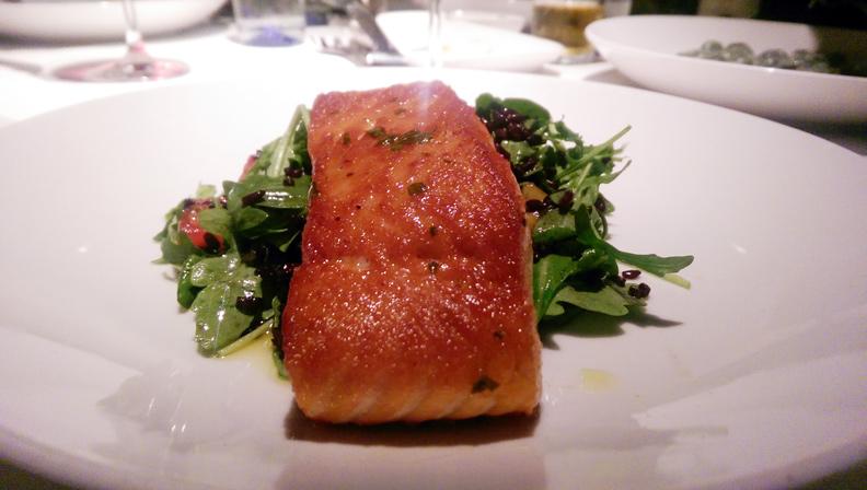 Salmone Arrosto Pan seared Scottish salmon, black rice, seasonal vegetables