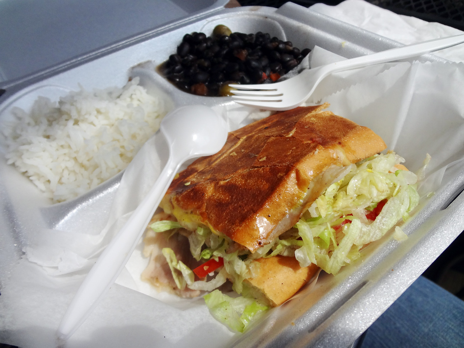 Crazy Cuban lunch special with mojo pork sandwich