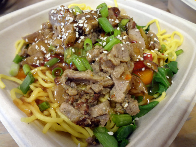 Spicy mongolian beef noodle bowl