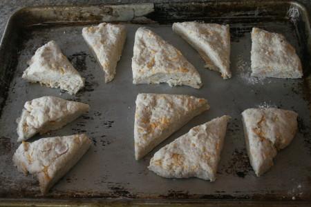 Cut Dough Square on Pan