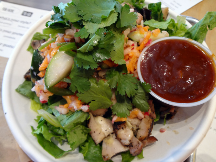 Chicken chile citrus BBQ over mixed greens ($8.50).