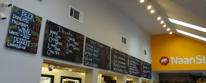 NaanStop menu board