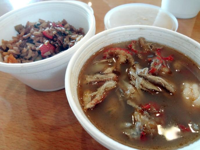 Thibodeaux's seafood gumbo and jambalaya