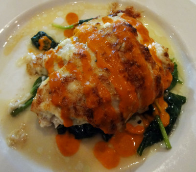 Crab and parmesan-crusted flounder