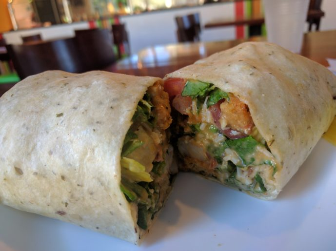 Salad Express buffalo shrimp caesar wrap