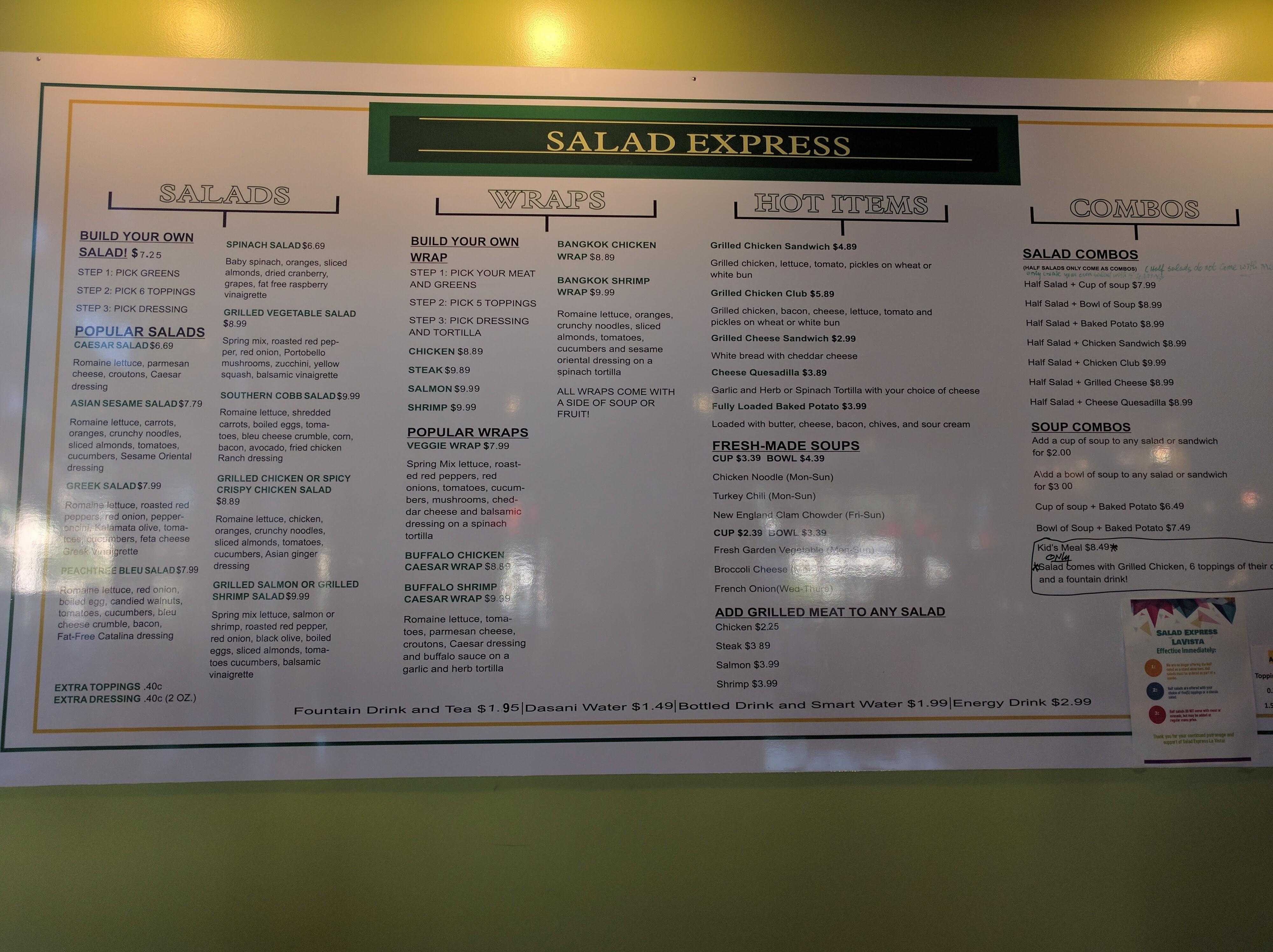 Salad Express menu board